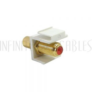 WP-IN-FR-RD RCA Female to F-Type Female Keystone Wall Plate Insert, Gold Plated - Red - Infinite Cables