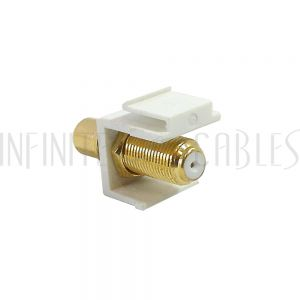 WP-IN-FR-WH RCA Female to F-Type Female Keystone Wall Plate Insert, Gold Plated - White - Infinite Cables