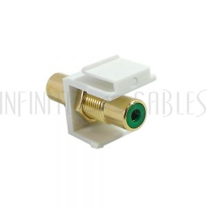 WP-IN-RCA-GN RCA Female/Female Keystone Wall Plate Insert White, Gold Plated - Green - Infinite Cables
