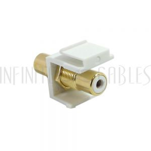 WP-IN-RCA-WH RCA Female/Female Keystone Wall Plate Insert White, Gold Plated - White