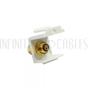WP-IN-RCAS-BK RCA Solder to Female Keystone Wall Plate Insert White, Gold Plated - Black - Infinite Cables