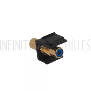 WP-INB-RCA-BL RCA Female/Female Keystone Wall Plate Insert Black, Gold Plated - Blue - Infinite Cables