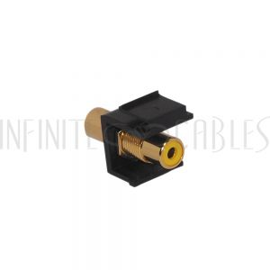 WP-INB-RCA-YL RCA Female/Female Keystone Wall Plate Insert Black, Gold Plated - Yellow - Infinite Cables