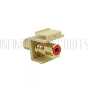RCA Female/Female Keystone Wall Plate Insert Ivory, Gold Plated - Red