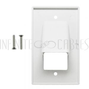 WP-PT1-WH Cable Pass-through Wall Plate, Single Gang - White - Infinite Cables