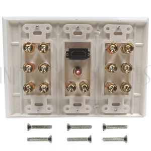 WPK-BAN7.1-DH 7.1 Surround Sound + HDMI Wall Plate Kit, Decora - White