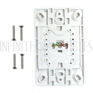 WPK-TELH-WH 1-Port Telephone Wall Plate with Hanging Hooks - Screw Terminal - White - Infinite Cables
