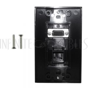WPK-VGA1-D-BK 1-Port VGA Wall Plate Kit Decora Black (with 1x Keystone Hole) - Infinite Cables