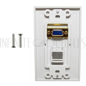WPK-VGA1-D 1-Port VGA Wall Plate Kit Decora White (with 1x Keystone Hole) - Infinite Cables