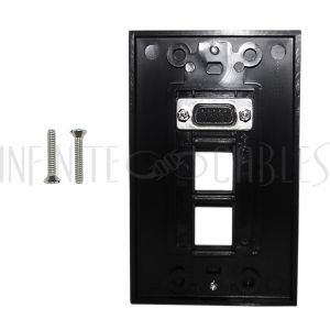 WPK-VGA2-D-BK 1-Port VGA Wall Plate Kit Decora Black (with 2x Keystone Hole) - Infinite Cables