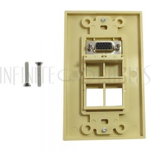 WPK-VGA4-D-IV 1-Port VGA Wall Plate Kit Decora Ivory (with 4x Keystone inserts) - Infinite Cables