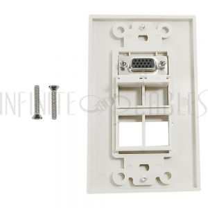 WPK-VGA4-D 1-Port VGA Wall Plate Kit Decora White (with 4x Keystone inserts) - Infinite Cables