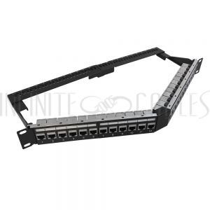 """PP-24C6S-APT 24-Port Angled CAT6 Shielded Patch Panel, 19"""" Rackmount 1U - Pass-Through - Infinite Cables"""