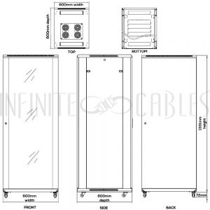 RM-1207 27U A/V and Networking Cabinet - Pre-Loaded with Fan Top, 5 Shelves & Blank Panels - Black - Infinite Cables