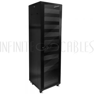 RM-1210 42U A/V and Networking Cabinet - Pre-Loaded with Fan Top, 9 Shelves & Blank Panels - Black - Infinite Cables