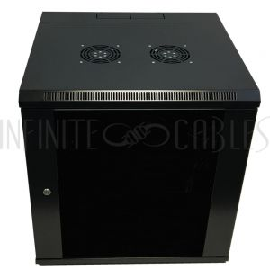 """RM-550-12U Wall Mount Swing-Out Cabinet 12U x 18.5"""" Usable Depth, Fans - Black - Infinite Cables"""