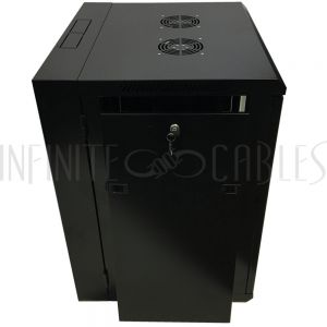 "RM-550-15U Wall Mount Swing-Out Cabinet 15U x 18.5"" Usable Depth, Fans - Black - Infinite Cables"