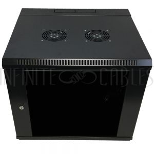 """RM-550-9U Wall Mount Swing-Out Cabinet 9U x 18.5"""" Usable Depth, Fans - Black - Infinite Cables"""