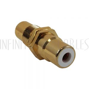 AD-RCA-WH RCA Female to Female Bulkhead, Gold Plated - White - Infinite Cables