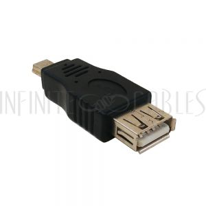 AD-USB-08 USB A Female to Mini 5-Pin Male Adapter - Infinite Cables