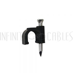 CC-100-BK 100pk Cable Clips (suitable for RG6) - Black - Infinite Cables