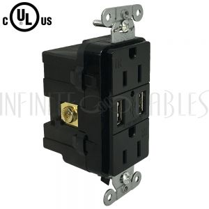 PW-PR1DU-BK Hubbell Power Receptacle Duplex (15A 125V) + 2x USB Decora - USB15X2BK Black - Infinite Cables
