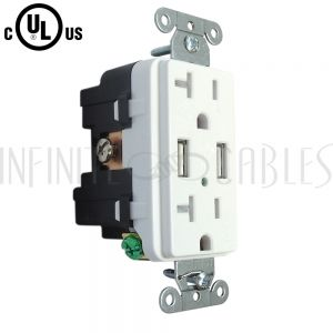 PW-PR2DU-WH Hubbell Power Receptacle Duplex (20A 125V) + 2x USB Decora - White