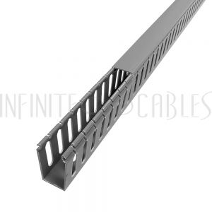 WD-1020-GY 6ft Plastic Wiring Duct with Cover 1x2 - Grey - Infinite Cables