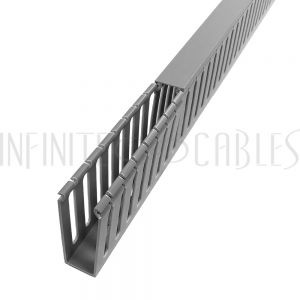 WD-1030-GY 6ft Plastic Wiring Duct with Cover 1x3 - Grey - Infinite Cables