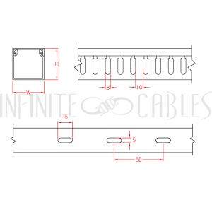 WD-2020-GY 6ft Plastic Wiring Duct with Cover 2x2 - Grey - Infinite Cables