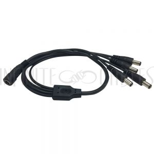 CN-DCF-4M DC Power Splitter Cable 1 x 2.1mm Female to 4 x 2.1mm Male (18 inch, 22/24AWG) - Infinite Cables