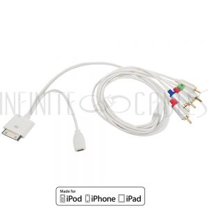 AP-RCA5-05WH 1.5m iPhone to Component + Audio Cable & Micro USB Female - White
