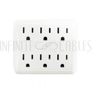 PB-006-WH 6 Outlet Power Tap - White - Infinite Cables