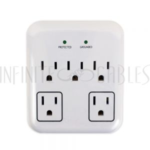 PB-105-WH 5 Outlet Power Tap - 900J Surge Protection - White - Infinite Cables