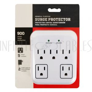 PB-105-WH 5 Outlet Power Tap - 900J Surge Protection - White