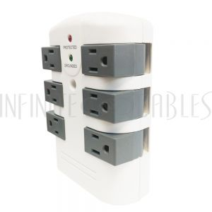 PB-126-WH 6 Outlet Swivel Power Tap - 2160J Surge Protection - White