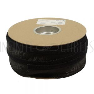 BS-FW075-100BK 100ft 3/4 inch Split Hook and Loop Braided Sleeving Black - Infinite Cables