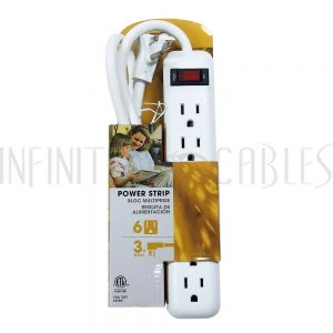 PB-010-WH 6 Outlet Power Strip - 3ft Cord, Down Angle Plug - White - Infinite Cables