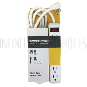 PB-011-WH 6 Outlet Power Strip - 8ft Cord, Down Angle Plug - White - Infinite Cables