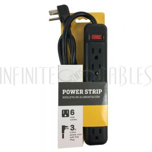 PB-015-BK 6 Outlet Power Strip - 3ft Cord, Down Angle Plug - Black - Infinite Cables