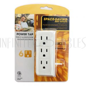 PB-016-WH 6 Side-Outlet Power Tap - White - Infinite Cables