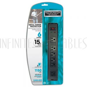 PB-170-BK 6 outlet Surge Protector - 1150J, 15ft Cord, Down Angle Plug - Black - Infinite Cables