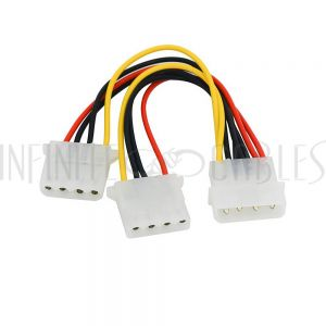 PW-INSP-8 8 inch LP4 Male to 2x LP4 Female Internal PC Power Splitter Cable - Infinite Cables