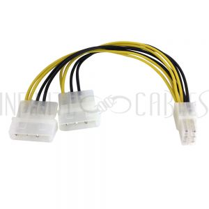 PW-INSP3-8 8 inch 6-pin PCI Female to 2x LP4 Male Internal PC Power Splitter Cable - Infinite Cables