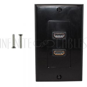 Black Plastic HDMI Wall Plate Kits