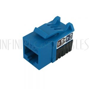 JK-C5P1-BL RJ45 Cat5e Slim Profile Jack, 110 Punch-Down - Blue - Infinite Cables