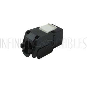 JK-C6A-BK RJ45 CAT6A Slim Profile 180 Degree Jack, 110 Punch-Down Style or Tool-Less - Black
