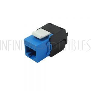 JK-C6A-BL RJ45 CAT6A Slim Profile 180 Degree Jack, 110 Punch-Down Style or Tool-Less - Blue