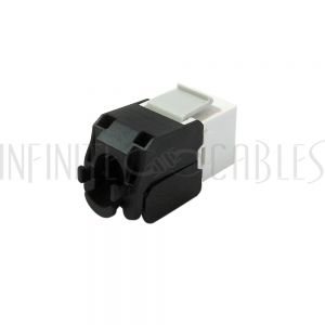 JK-C6A-WH RJ45 CAT6A Slim Profile 180 Degree Jack, 110 Punch-Down Style or Tool-Less - White - Infinite Cables
