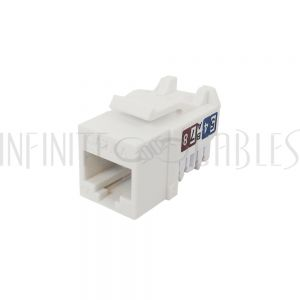 JK-C6AP1-WH RJ45 CAT6A Slim Profile Jack, 110 Punch-Down - White - Infinite Cables